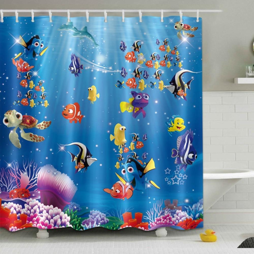 funny cartoon undersea fish shower curtain ocean and sea bathroom waterproof extra long polyester fabric for kids bathtub decor