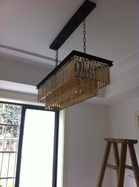 Best Price JH American Country Crystal Chandelier Dining Room Creative Rectangular Pendant LED Lighting RH