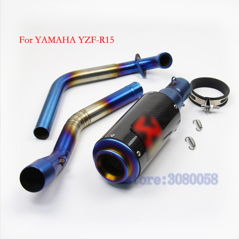 Motorcycle Exhaust Muffler Escape Set with Front Mid Link Pipe Connector Blue YZFR15 Full System Slip On For Yamaha YZF R15 чехол для iphone 6 plus 6s plus apple leather case mm322zm a storm gray