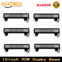6pcs 15 inch 90W LED Work Light Bar for Car Tractor Boat OffRoad Driving Lamp 4WD 4x4 Truck SUV ATV Combo Beam 12V 24v