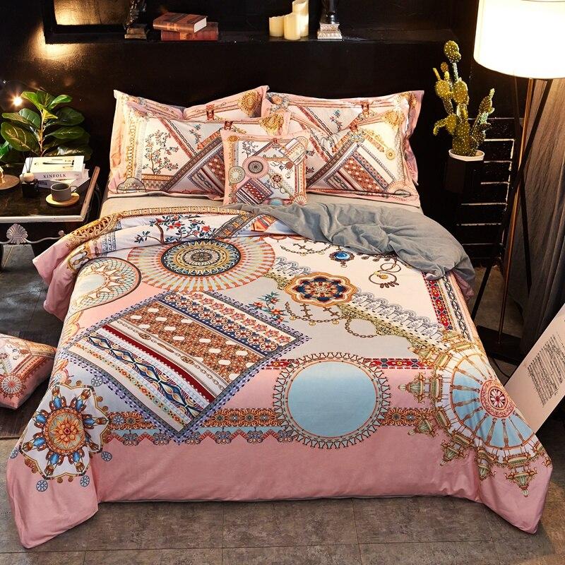 Europe Luxury Bedding Set Queen King size Duvet Cover Bed set Warm Fleece Soft Bed sheet