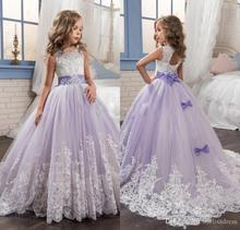 2018 Romantic Champagne Puffy Lace Flower Girl Dress for Weddings Organza Ball Gown Party Communion Pageant