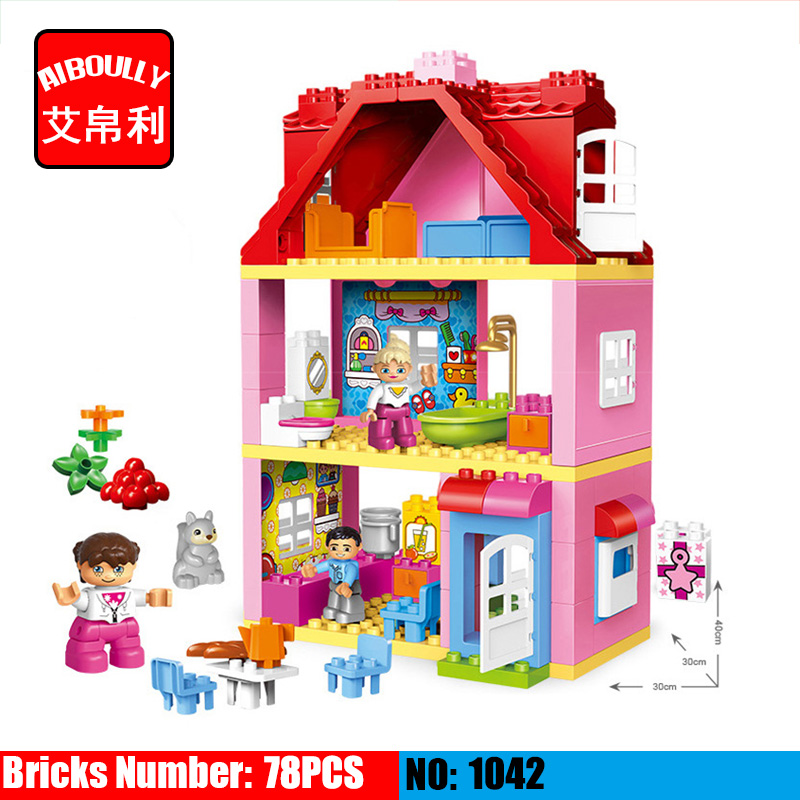 78 PCS Large Size Pink villa Girls Big Building Blocks set Kids DIY Bricks Model Toys for Children Compatible Duploe 26pcs highway bridge blocks set large train railway building blocks kids diy toys compatible with duploe children gift