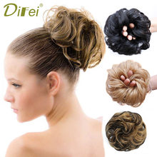 DIFEI Curly Chignon Heat Resistant Synthetic Hair Elastic Hairpiece Curly Bun Mix Gray Blond Natural Chignon Hair Extension(China)