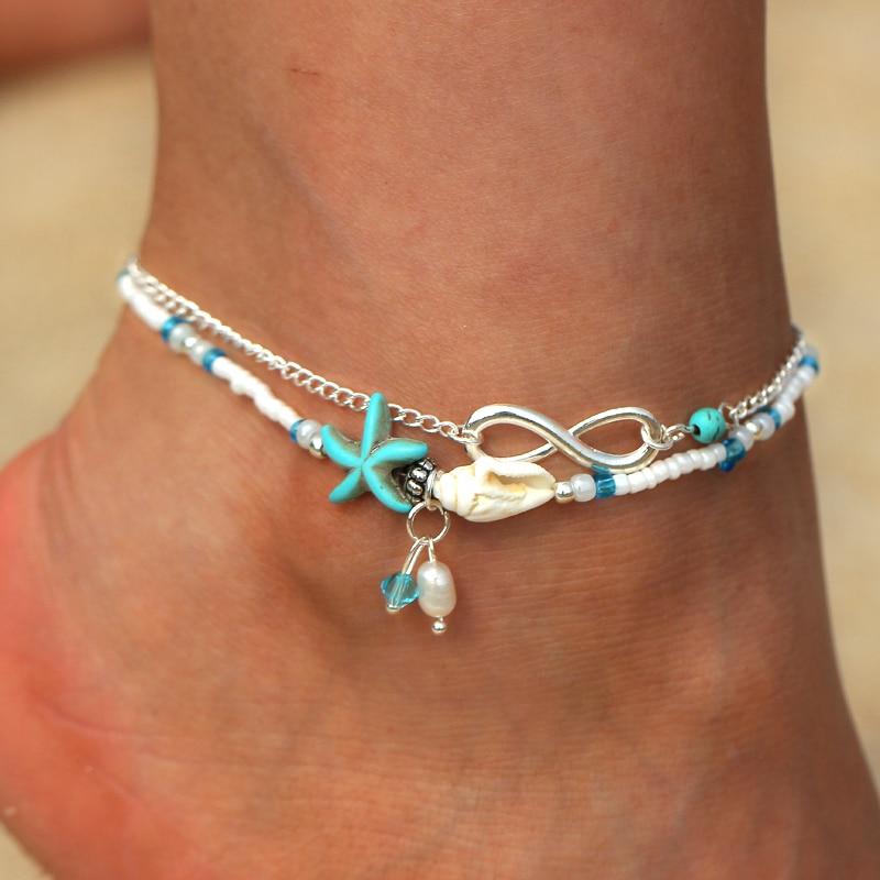 2Pcs Bohemian Boho Shell Beads Anklets For Women Layer Anklet Bracelet Jewelry