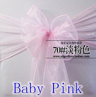 Baby pink colour Chair Sashes crystal Organza sash Wedding Party Decoration Bow sash wholesale snow organza silk sash band serveware