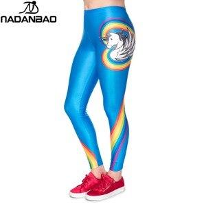 Image 2 - Nadanbao 2019ユニコーンパーティーシリーズレギンス女性カラフルなデジタル印刷セクシーなプラスサイズレギンスカジュアルフィットネスパンツ