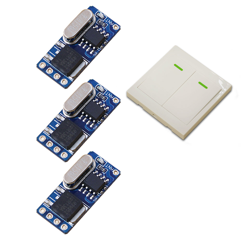 DC3.5V 6V 9V 12V Wireless Remote Control Switch System Teleswitch 1*Wall Panel Transmitter &3*Receiver Relay Smart House 315/433 wireless pager system 433 92mhz wireless restaurant table buzzer with monitor and watch receiver 3 display 42 call button