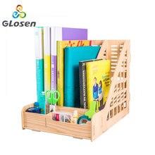 DIY Desk Accessories Solid Organizer Multi-function Magazine File Tray Bookends Holder Office Glosen D9112