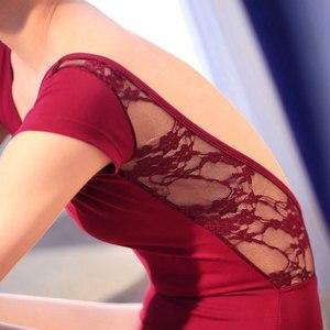 Image 5 - レース綿バレエレオタード女性背中の開いたバレエダンスの摩耗ガール大人のダンスの服黒体操レオタードスーツ
