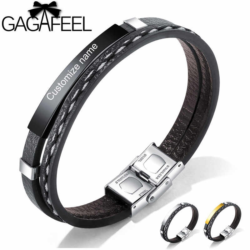 GAGAFEEL 21CM Leather Bracelets for Men DIY Customizable Engraving Stainless Steel Bar Bangles Personalized Pulseira