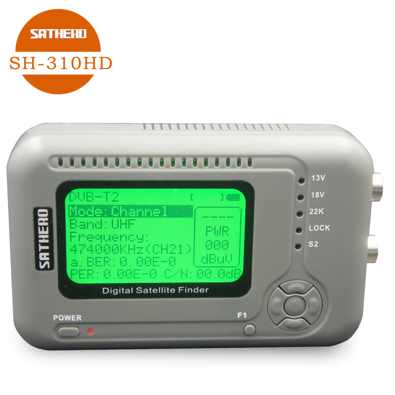 Sathero original SH 310HD Combo Signal Finder DVB S2 & DVB T2 Digital Satellite Finder meter free sat finder meter with battery