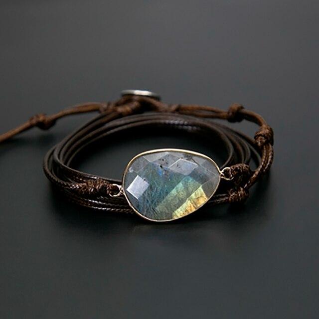 Brazalete con piedras naturales Labradorite pulsera larga de Amistad Bohemia pulsera tnica nica hecha a mano
