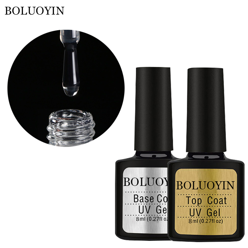 BOLUOYIN UV Gel Top Coat Base Coat Gel 8ML Soak Off For Nail Gel Polish Base Transparent Clear Manicure Primer Nail Varnish Set