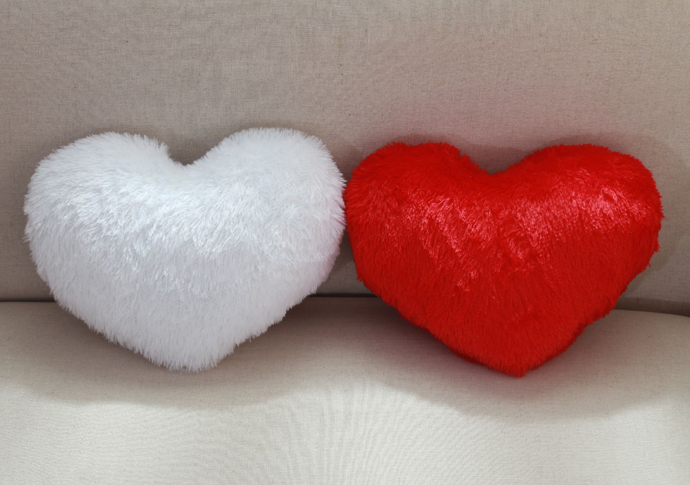 Vezo Home Decorative Love Heart Shaped Plush Cushion Throw Pillow Pv