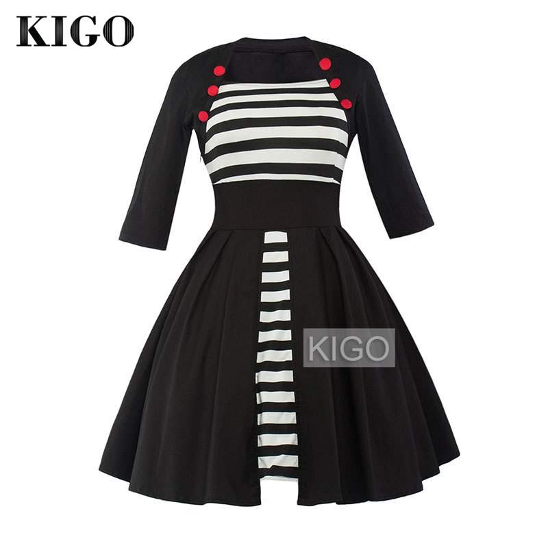 KIGO Vintage Women Dress Black White Striped Patchwork Half Sleeve 1950s Retro Dress Big Swing Rockabilly Dress KD0688H
