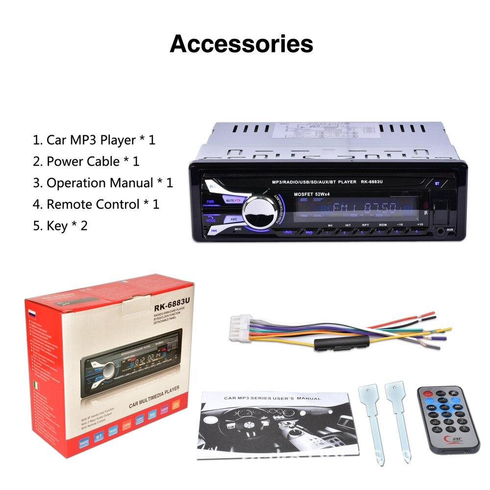 Auto autoradio Audio stéréo lecteur MP3 1 Din Bluetooth 12 V 7 couleur lumière avant détachable panneau Support SD/FM/AUX/USB - 6