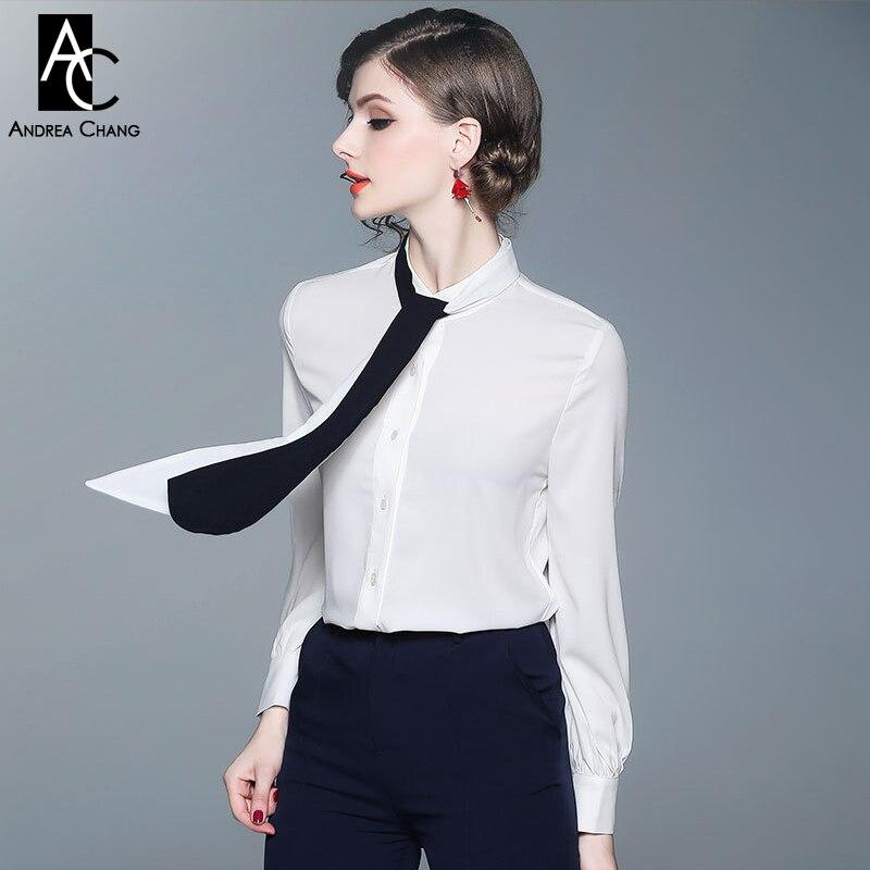7eb6d74d71b S-XXL Весна-осень женское платье Блузка Черный Белая лента галстук белая  рубашка блуза с длинными рукавами модная офисная рубашка в стиле нор.