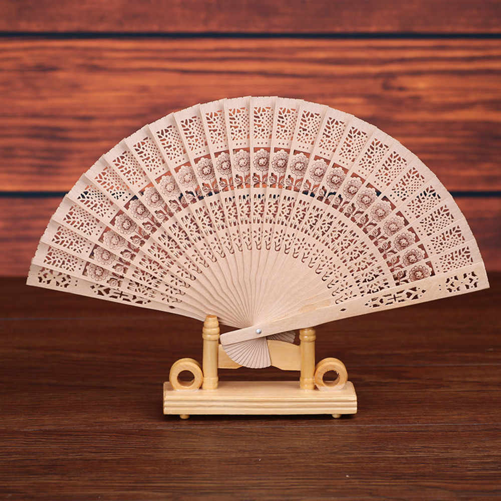 2019 New Folding Hand Held Fan Chinese classic Bamboo Fan Folding Wooden Carved Hand Fans for Outdoor Wedding Party Favor