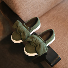 2016 autumn new big bow children canvas shoes casual lazy shoes Korean version of the princess