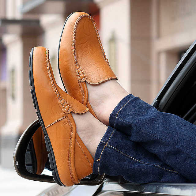 Enlenbenna big size 35-47 slip on casual men loafers spring and autumn mens moccasins shoes genuine leather men's flats shoes