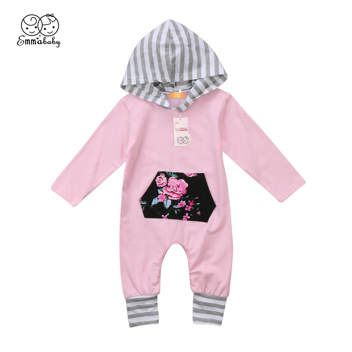 2018 New Casual Babies   Rompers   Toddler Infant Boys Girls Cotton Striped Floral Patchwork Hodded   Romper   Jumpsuit Clothes Outfits