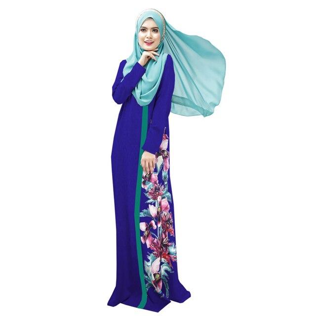 7c2c5e2640 Impresión Digital Vestido Étnico para Las Mujeres Túnicas Árabes Musulmanes  Caftán Árabe Musulmán Ropa Islámica Moda
