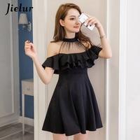 Jielur элегантный с открытыми плечами летнее платье S-XXL корейский Hipster черный, белый цвет Vestido Mujer пикантные тонкие рюшами линии платья д