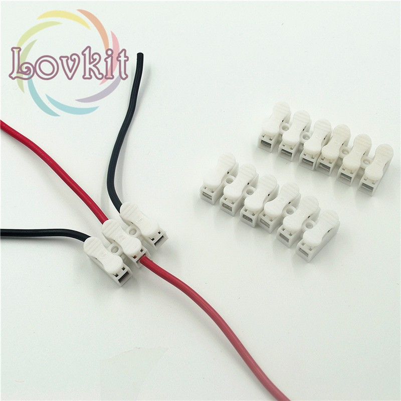 50pcs 3p Spring Connector wire with no welding screws Quick Connectos cable clamp Terminal Block 3 Way Easy Fit for led strip