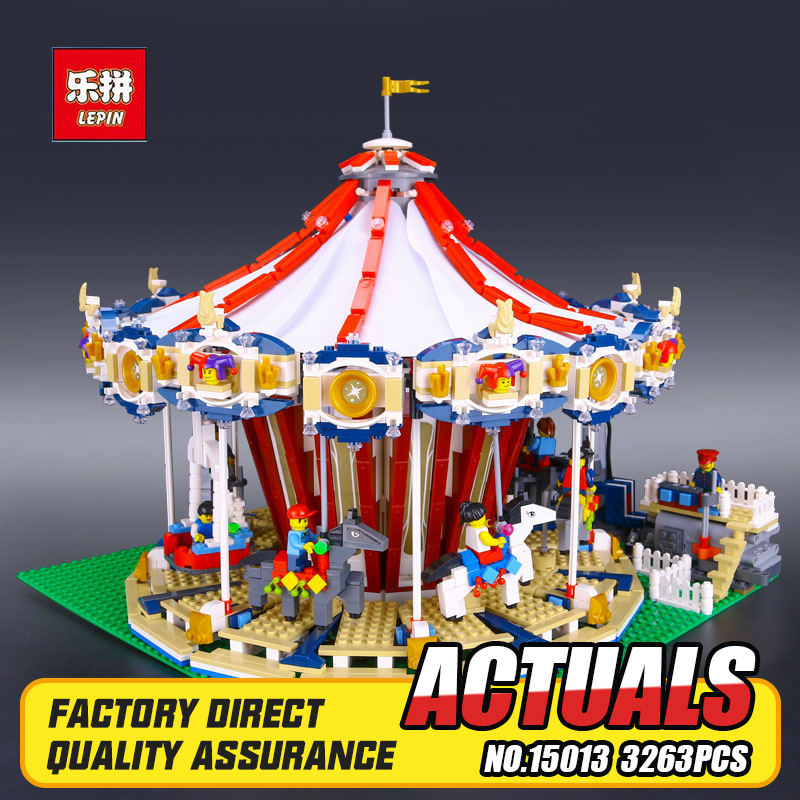 Lepin 15013 City Sreet set Carousel Model Building Kits Blocks Toy Compatible 10196 with Funny Children Educational lovely Gift lepin 02012 city deepwater exploration vessel 60095 building blocks policeman toys children compatible with lego gift kid sets