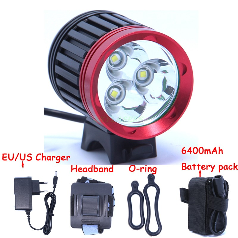 3T6 LED Bicycle Light 3 XM-L T6 3800Lm bike light 4 Mode Super Bright Bike Front Light + 6*18650 Battery Pack + Charger cree xm l t6 bicycle light 6000lumens bike light 7modes torch zoomable led flashlight 18650 battery charger bicycle clip