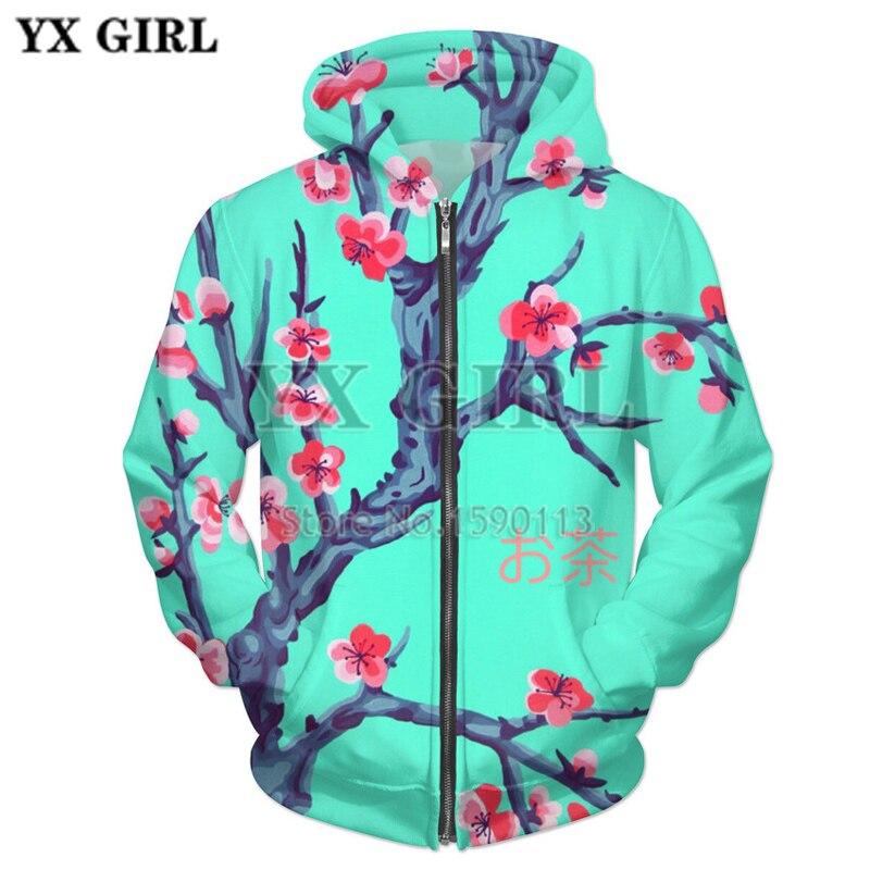 YX GIRL 2018 New Arrival 3D Hoodies Men Zipper Harajuku Hooded Jacket Sweatshirt Trees 3D Print Coats Casual Fashion Outwear
