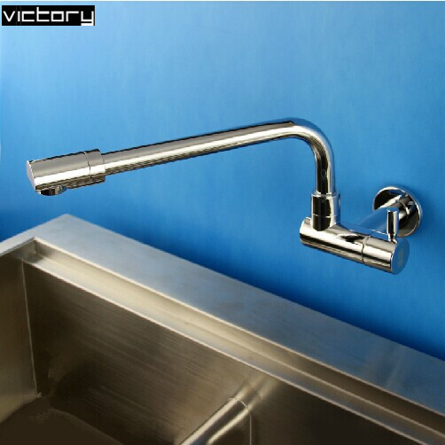 wall kitchen sink faucet Copper wall mounted kitchen taps single ...