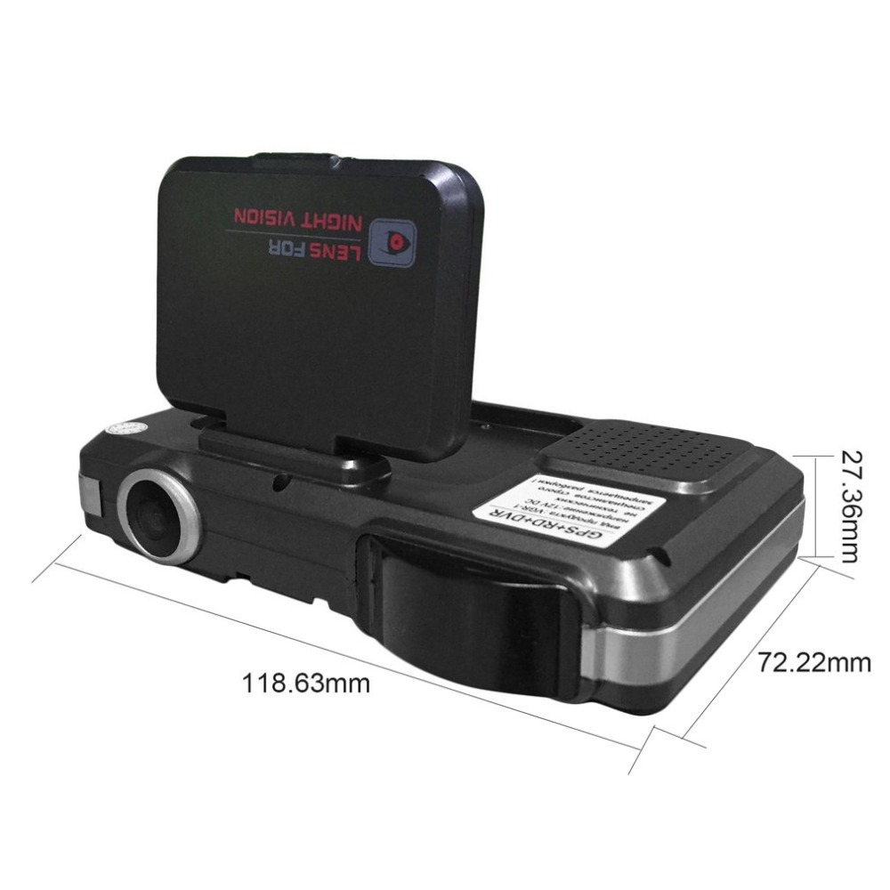 3 in 1 720P 140 Degrees Wide Angle Car DVR With Radar Detector + GPS Russian Pre-warning Data Recorder Carcorder
