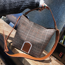 ETAILL Winter Pu Leather+Canvas Plaid Shoulder Bag Designer Brand Tote Bag Designer Female Bucket Shoulder Bags Composite Bag