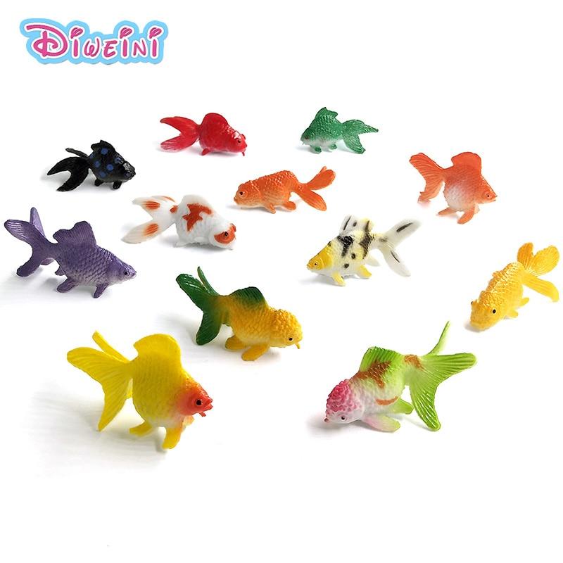 Simulação vida marinha peixes dourados animais modelos figuras conjunto brinquedos pequenos kawaii oceano peixe plástico decoração para casa acessórios