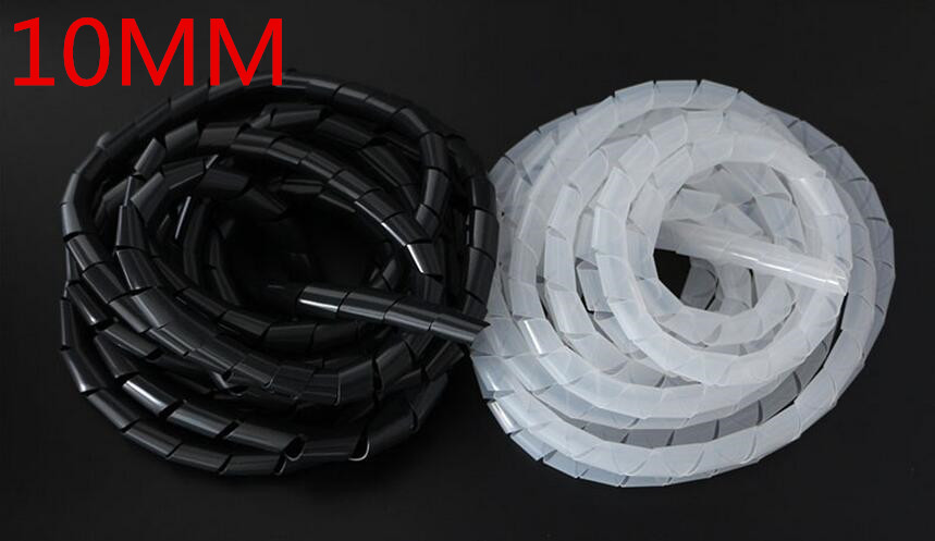 Spiral wrapping band SWB-10 diameter 10mm About 10M Length Black White Cable casing Cable Sleeve Winding pipe Spiral Wrapping 10mm black white gray computer tv cable sleeve tidy wire guide tool organizing tube spiral wrapping band spring clamp