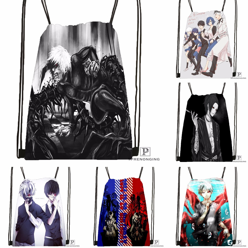 Custom Tokyo Ghoul Kaneki Ken Drawstring Backpack Bag Cute Daypack Kids Satchel (Black Back) 31x40cm#180531-04-25