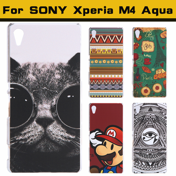 Case For Sony Xperia M4 Aqua Case Cover Fashion Cute Lovely Cartoon UV Print Hard Cover