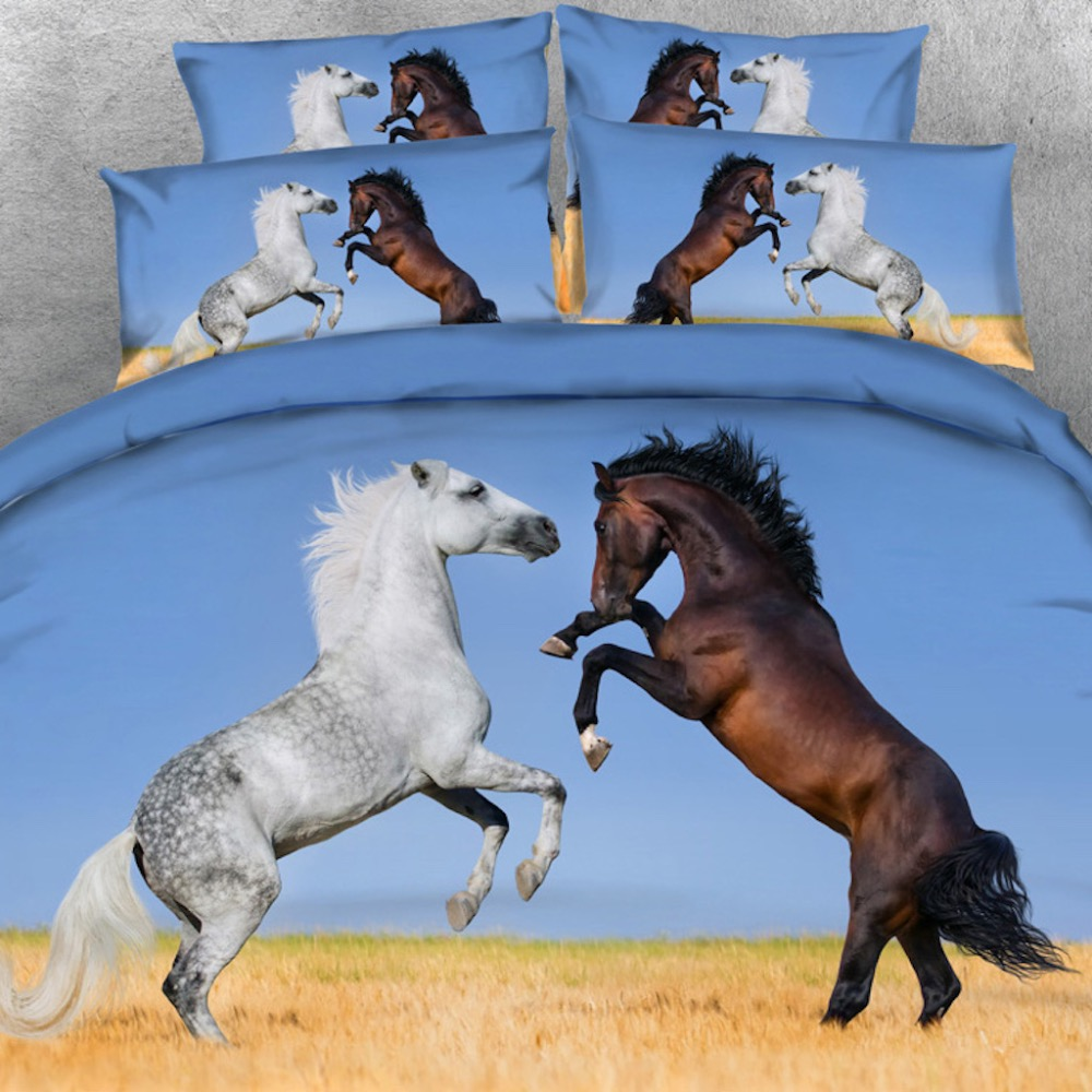 Goldeny 4 Parts Per Set Brown and White Stallions 3d HD digital animal Bed linen 3D Bed Sheet SetGoldeny 4 Parts Per Set Brown and White Stallions 3d HD digital animal Bed linen 3D Bed Sheet Set