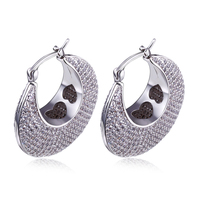 Ethnic Hoop Earrings For Women White Gold Color Pave Setting AAA Clear CZ C Shaped Loop Big Earring Fashion Wholesale Jewelry