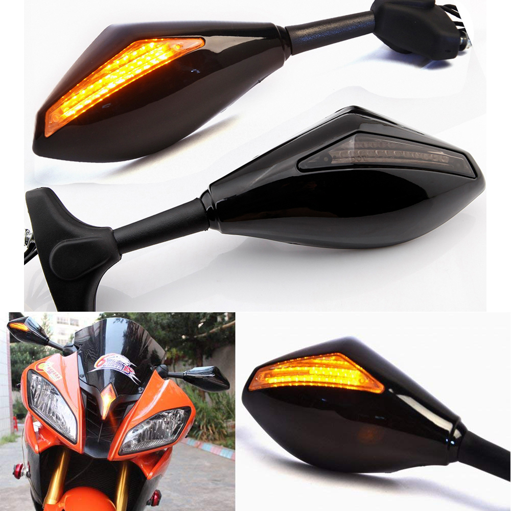 Black Motorcycle Front Back LED Turn Signal Integrated Mirrors for HONDA CBR 600RR 1000RR F3 F4 Yamaha FZ1 FAZER