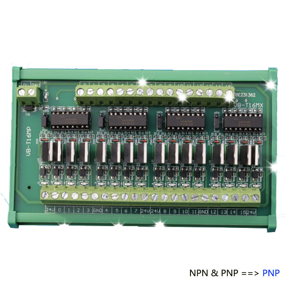 16 способов PLC NPN и PNP вход NPN выходной усилитель Терминал реле блоки пластина короткого замыкания защита от перегрузки по току - Цвет: NPN PNP to PNP 16CH