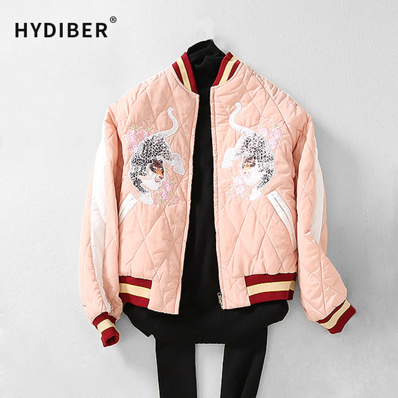 ФОТО 2016 Winter Women Short Bomber Jacket Tiger Embroidery Coat Cotton Padded Parkas Wadded Women Solid Argyle Jacket Outerwear Tops