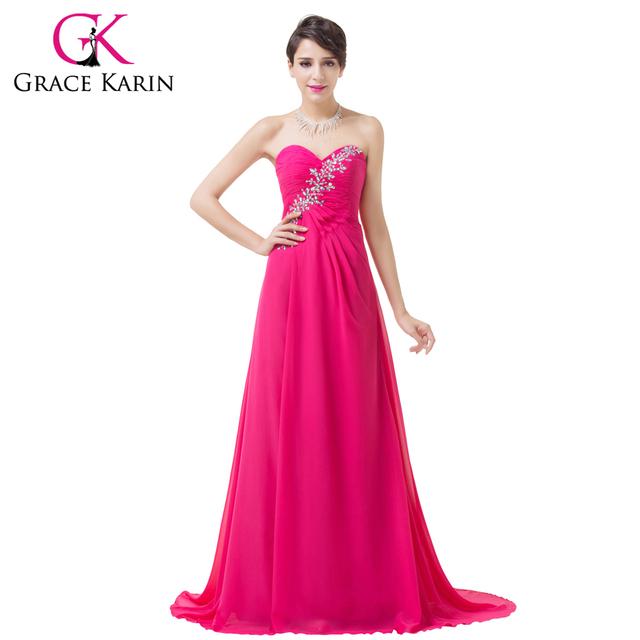 Grace karin formal elegante vestidos de noche de color rosa oscuro cariño rebordear lentejuelas vestidos de noche largo ocasión especial vestido de 2017