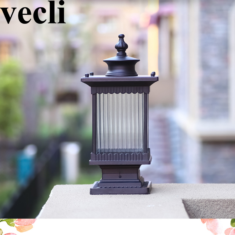 Retro style outdoor post light fixtures waterproof aluminium art corridor villa gateway yard
