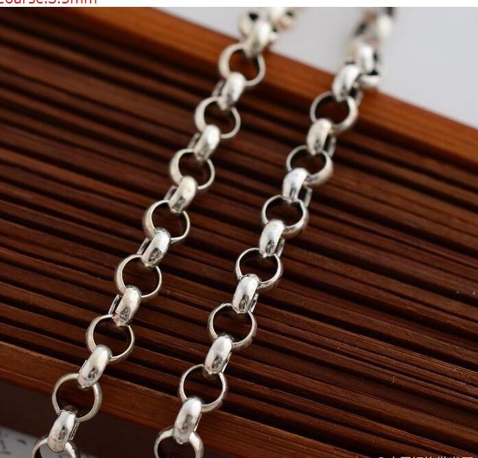 925 collier en argent épais 3.5mm femelle 66 cm long collier