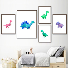 Cartoon Color Dinosaur World Wall Art Canvas Painting Nordic Posters And Prints Animals Pictures For Kids Room Decor