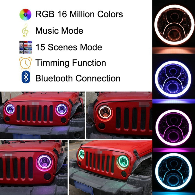 Pair 7inch Wrangler RGB Halo LED Headlights Kit 50W with Bluetooth Remote Angel Eyes for Jeep Wrangler JK LJ Hunmmer H1 H2 windshield pillar mount grab handles for jeep wrangler jk and jku unlimited solid mount grab textured steel bar front fits jeep