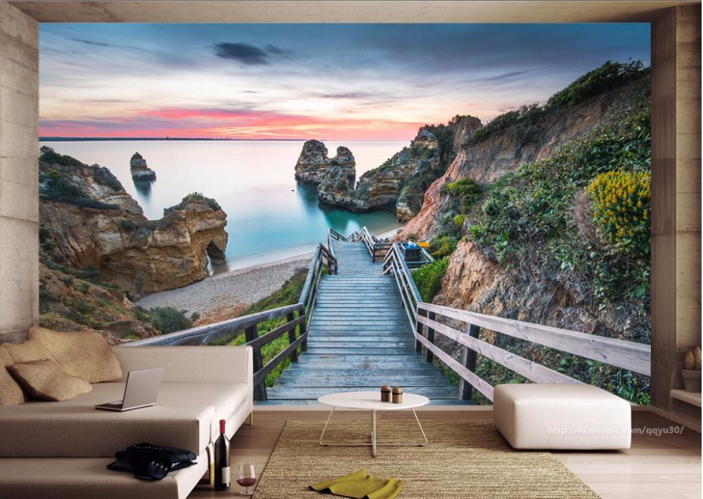 Custom photo mural 3d wallpaper Portuguese coast view living room decor painting 3d wall murals wallpaper for walls 3 d 3d wall murals wallpaper for living room walls 3 d photo wallpaper sun water falls home decor picture custom mural painting